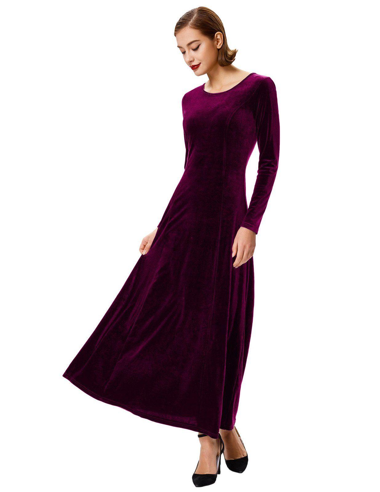 Grace karin womens crew neck cocktail velvet maxi long dresses size