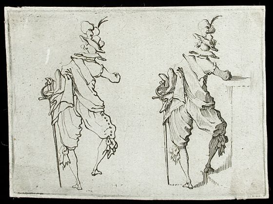 Man with a Large Sword Seen from Behind Alternate Title: L'Homme avec une grande épée vu de dos  Series: Les Caprices (Florentine edition) Jacques Callot 1617