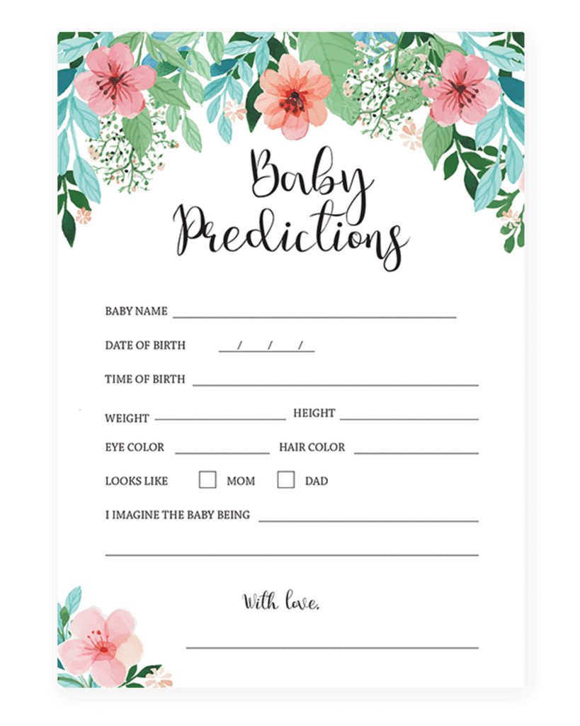 Printable Baby Prediction Card by LittleSizzle