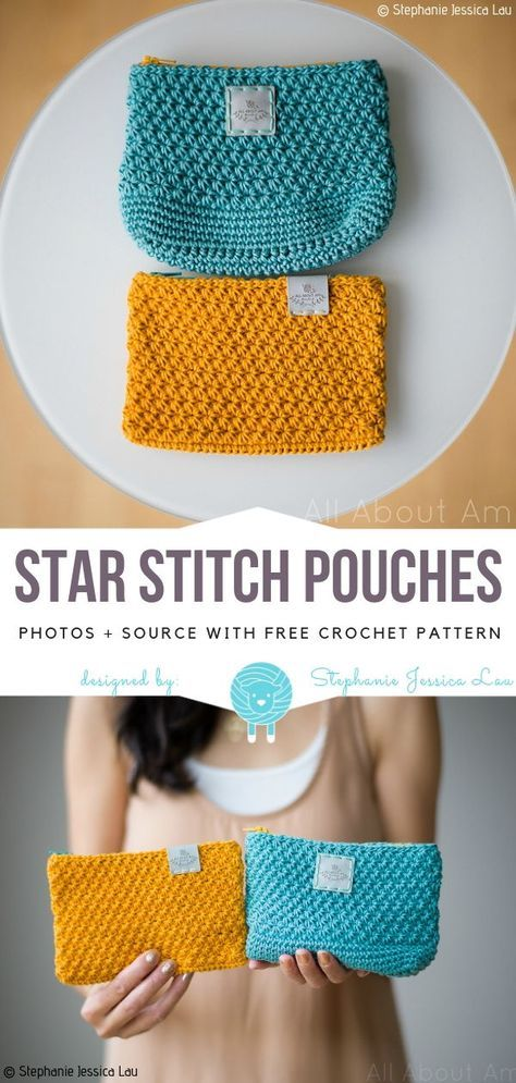 Colorful Crochet Pouches Free Patterns