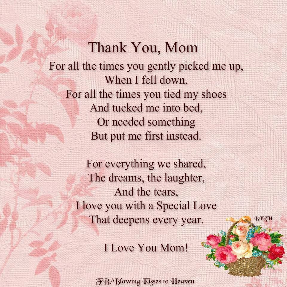 ♡ Thank you Mom, I miss you. xox ♡ | Thank you mom quotes ...