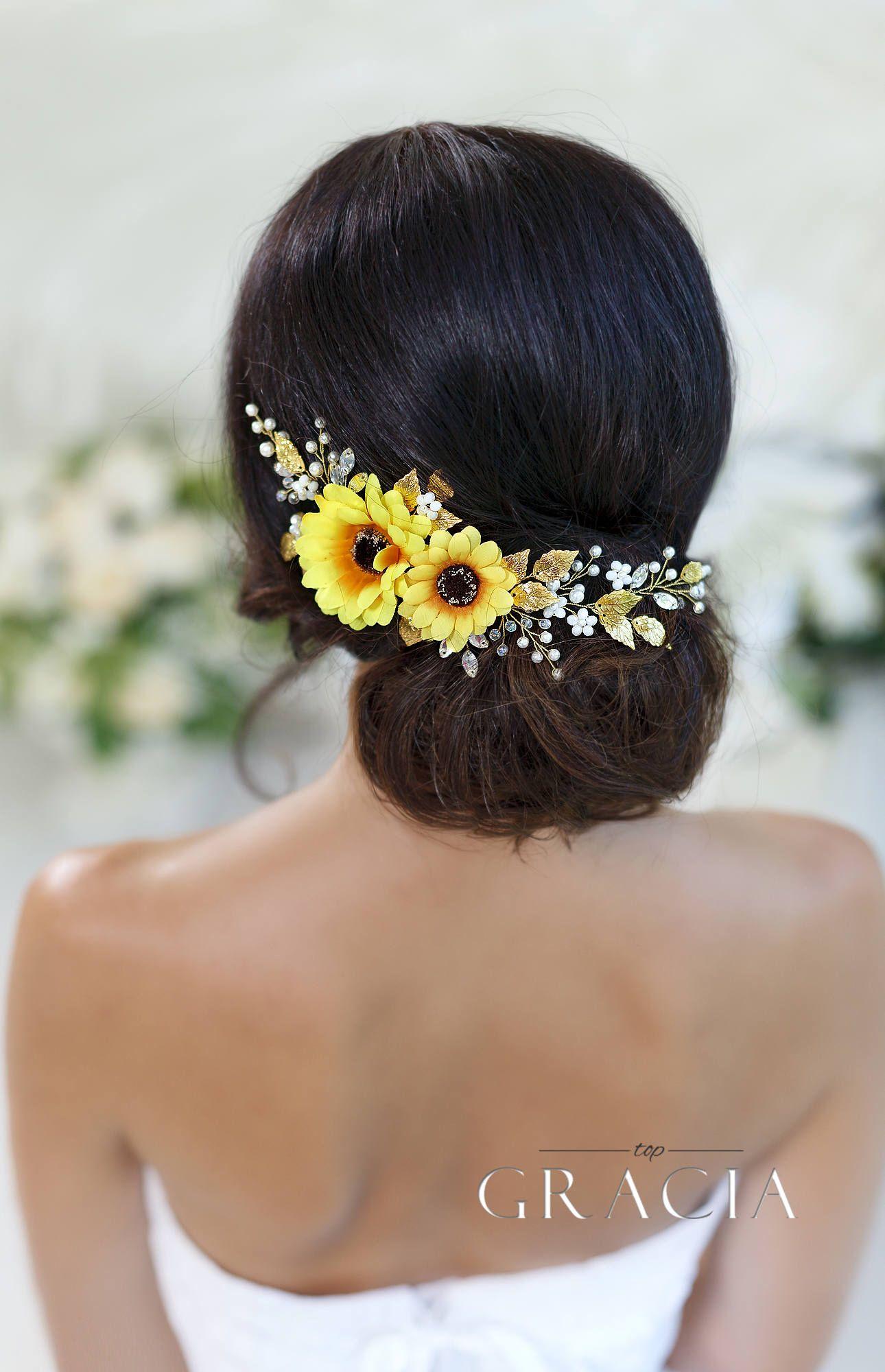 sunflower bridal headpiece sunflower hair comb sunflower