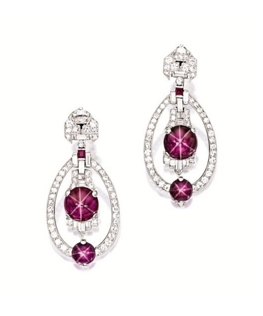 Pair Of Star Ruby And Diamond Pendent Earrings Yard Circa 1930 Art Deco Design Each Suspending An Oscillating Cabochon Altogether Weighing