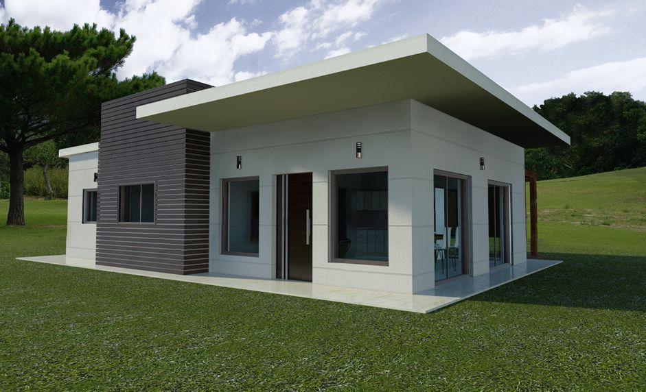 Casas minimalistas fachadas de una planta en esquina for Fachadas de casas de una sola planta