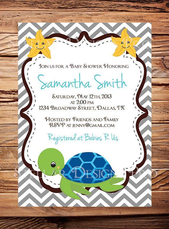 sea turtle baby shower invitation baby shower by stellardesignspro, Baby shower invitations