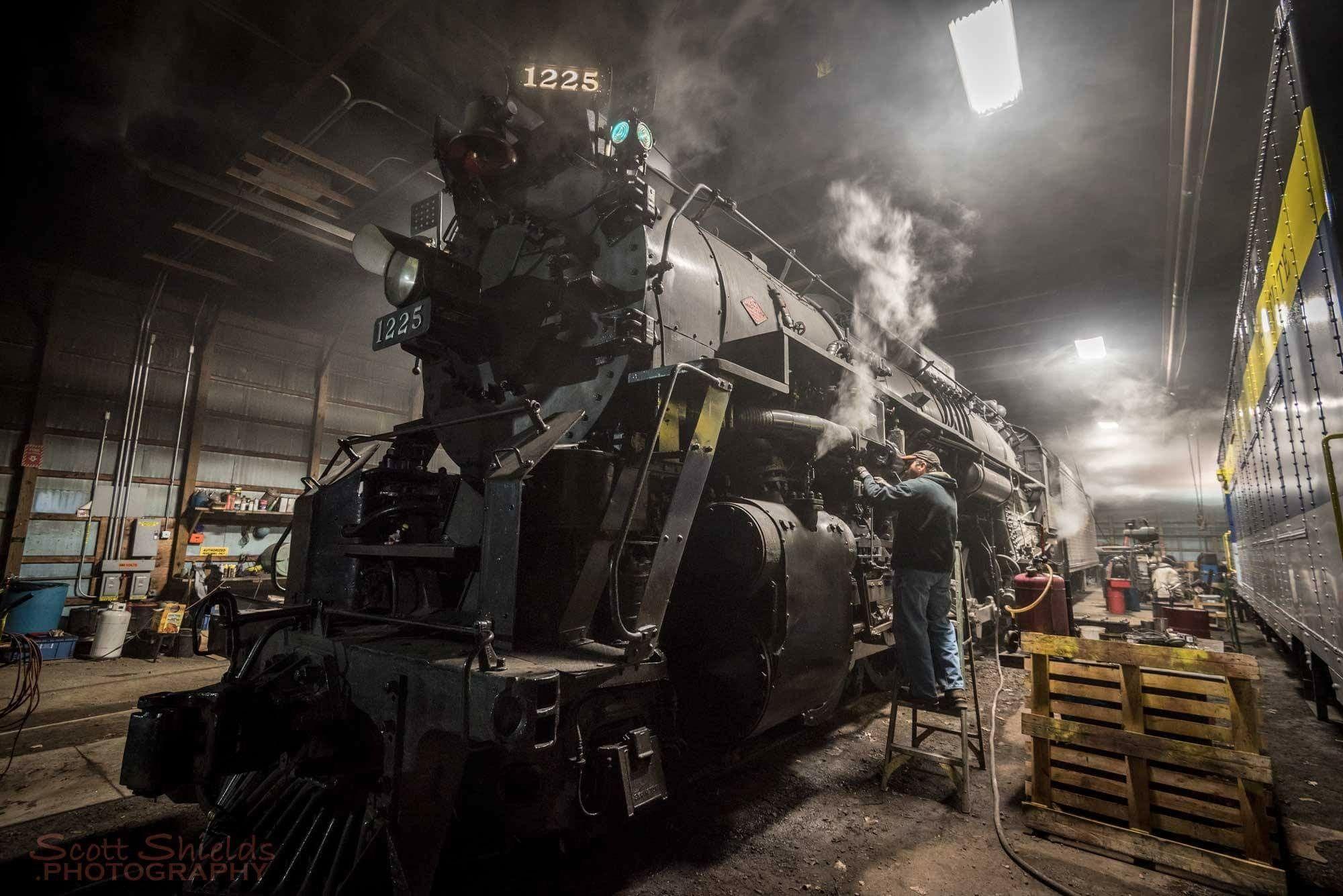 1225 steam locomotive, night shift.