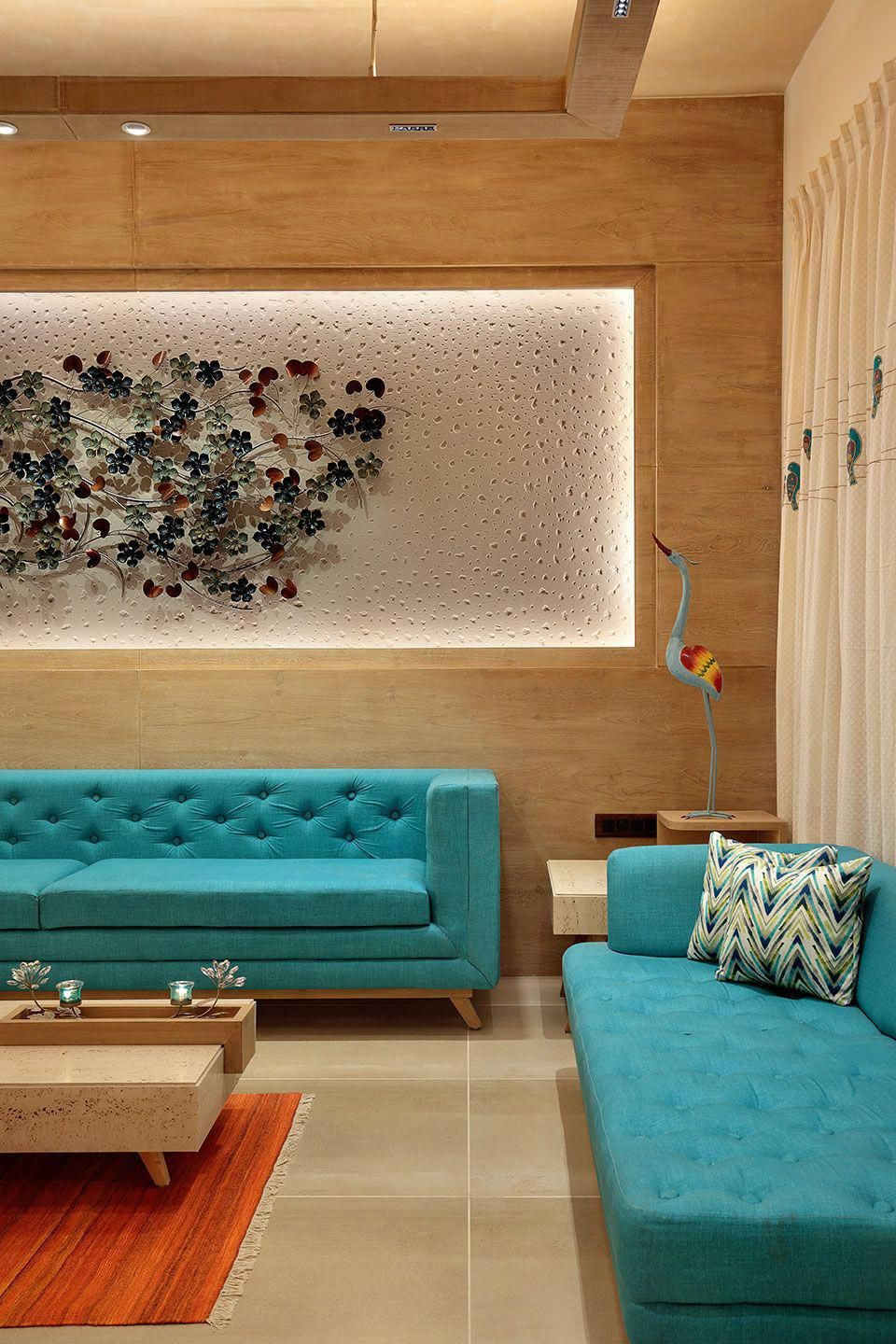 Drawing Room Sofa Designs India: The Turquoise House Mixes Traditional & Mediterranean