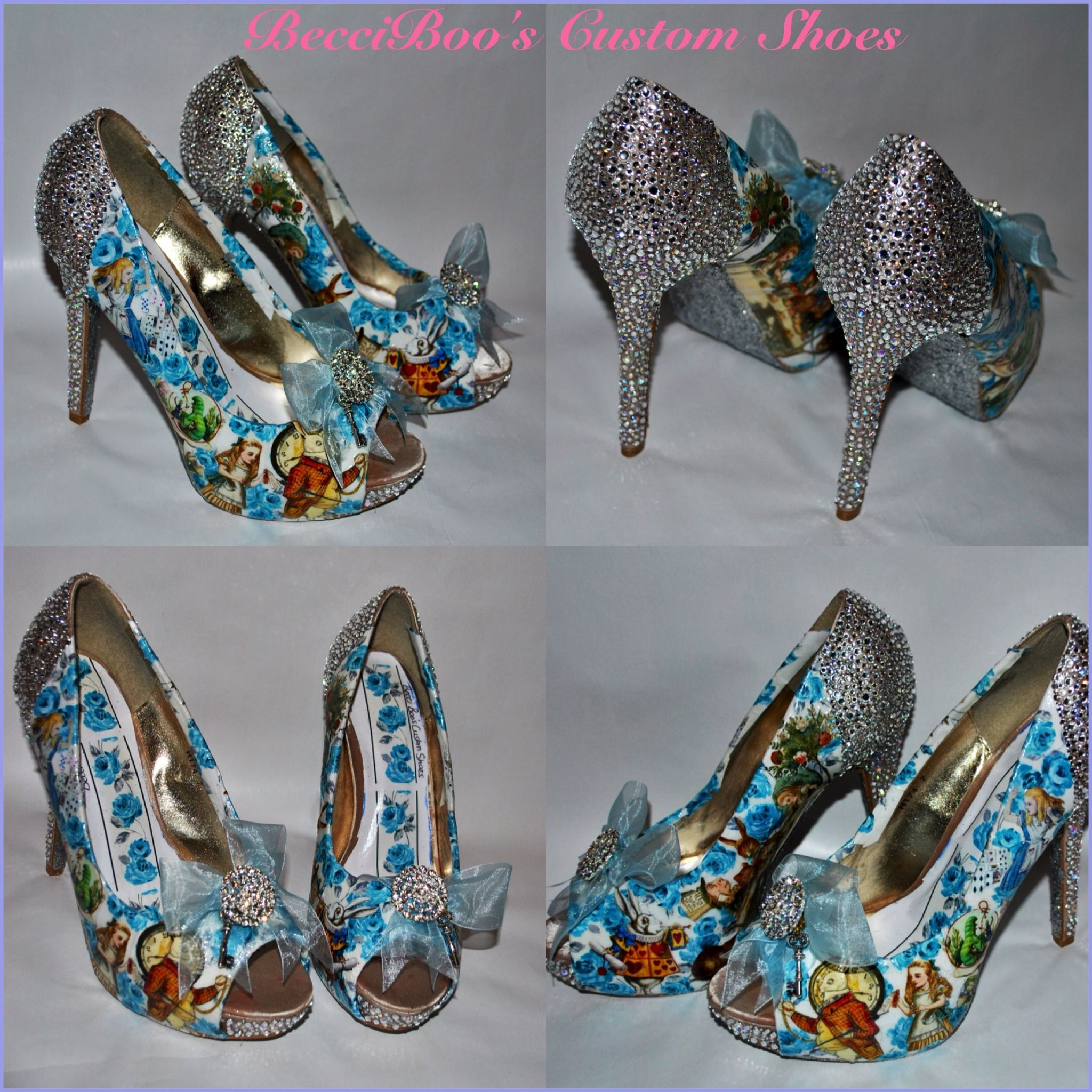 The Latest Alice In Wonderland Shoes Custom Designed For A Wedding With Theme Colours