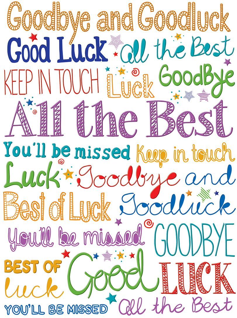 image result for goodbye and goodluck cards  good luck