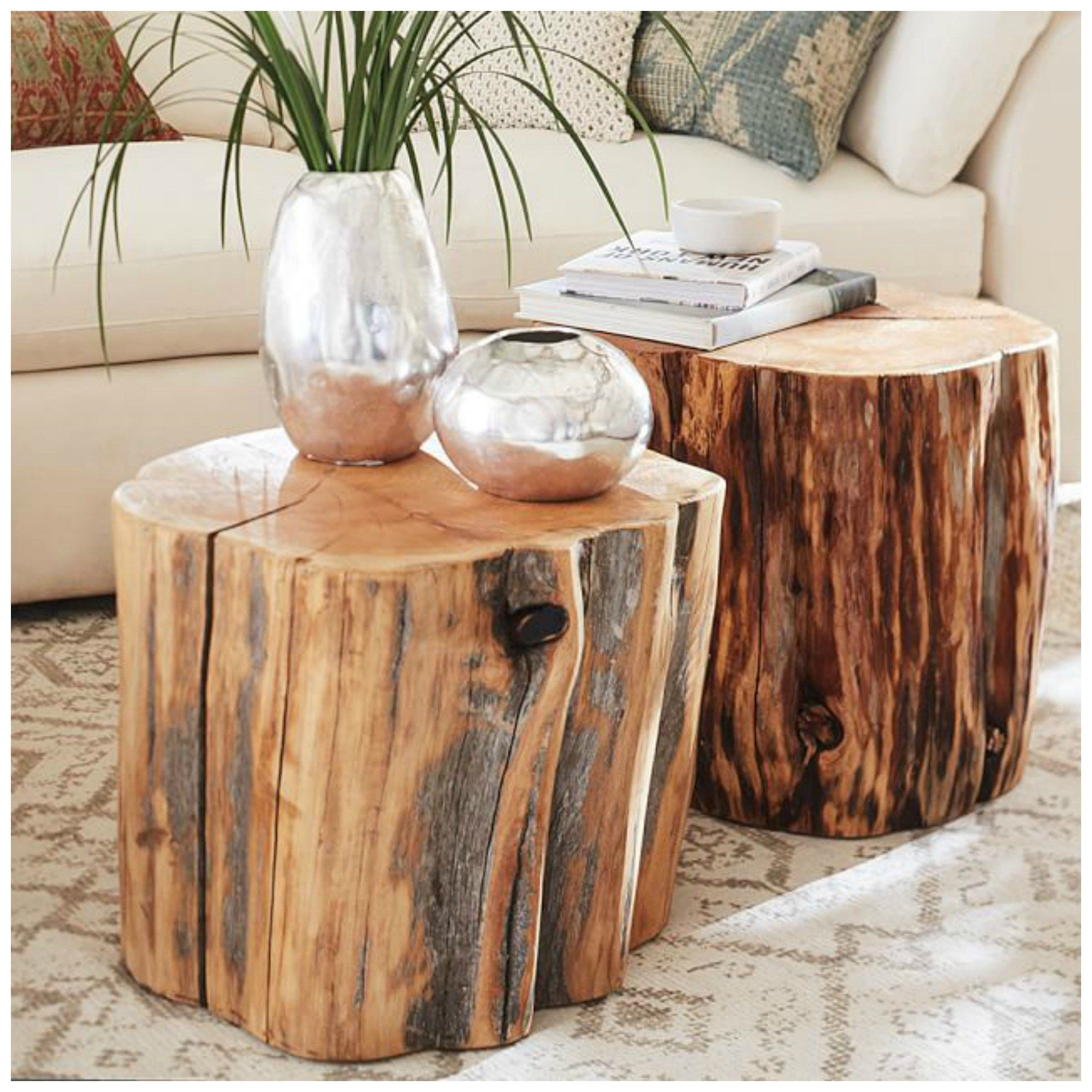 Reclaimed Wood Stump End Tables Pottern Barn Splurge For The Home Pinterest Wood