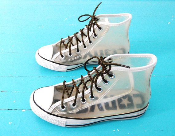 6dadc9c00ba7 Vtg 90s Clear Converse High Top Tennis Shoes by WelcomeHomeVintage