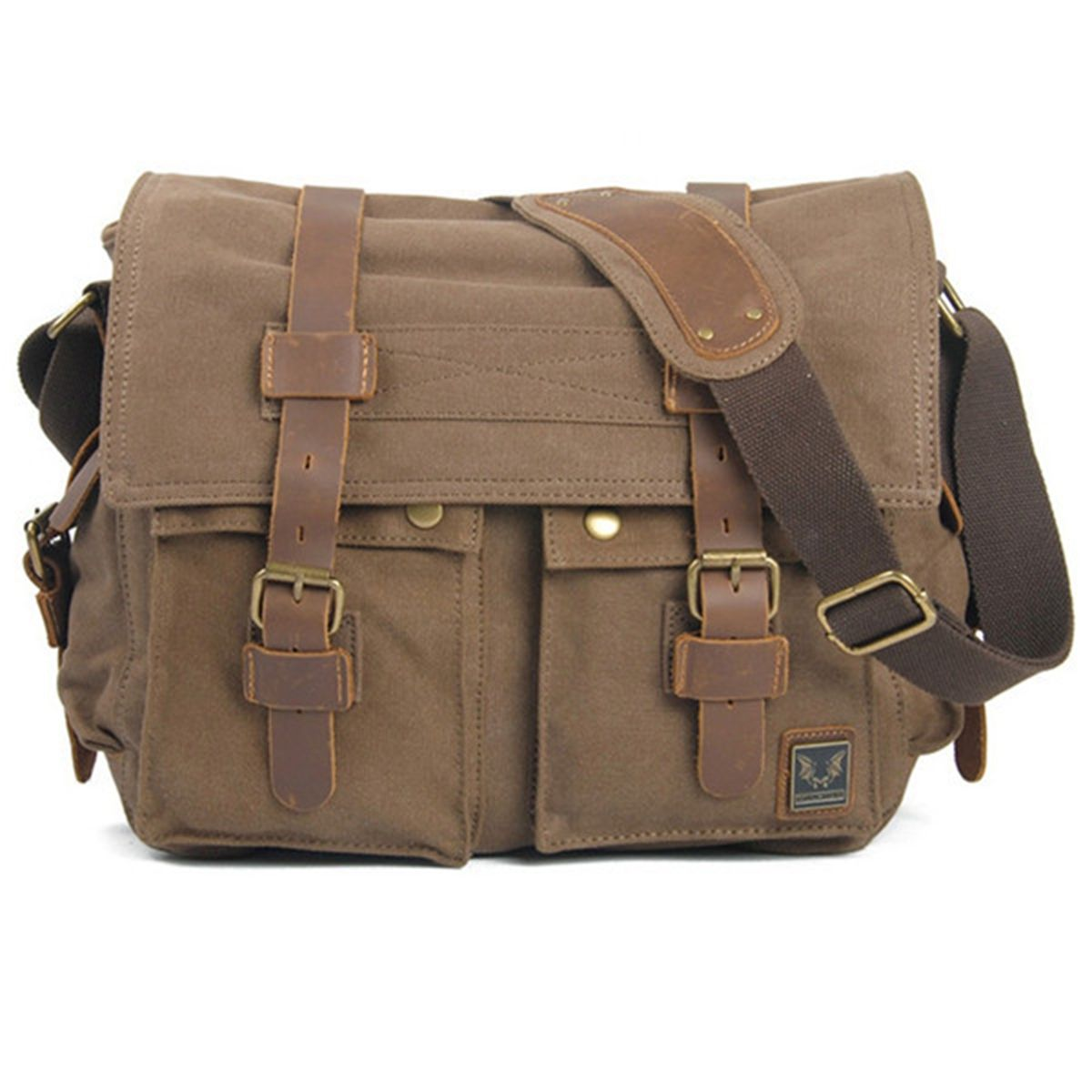 2fe453e80f SAC-BANDOULIERE-EPAULE-SACOCHE-TOILE-CUIR-DOS-HOMME -CARTABLE-CAMPUS-CAMPING-MODE