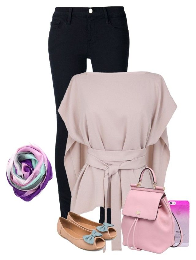 """""""fun hijab style"""" by marufah-chavoos ❤ liked on Polyvore featuring Frame Denim, TIBI, ZALORA, La Fiorentina, Dolce&Gabbana, women's clothing, women, female, woman and misses"""