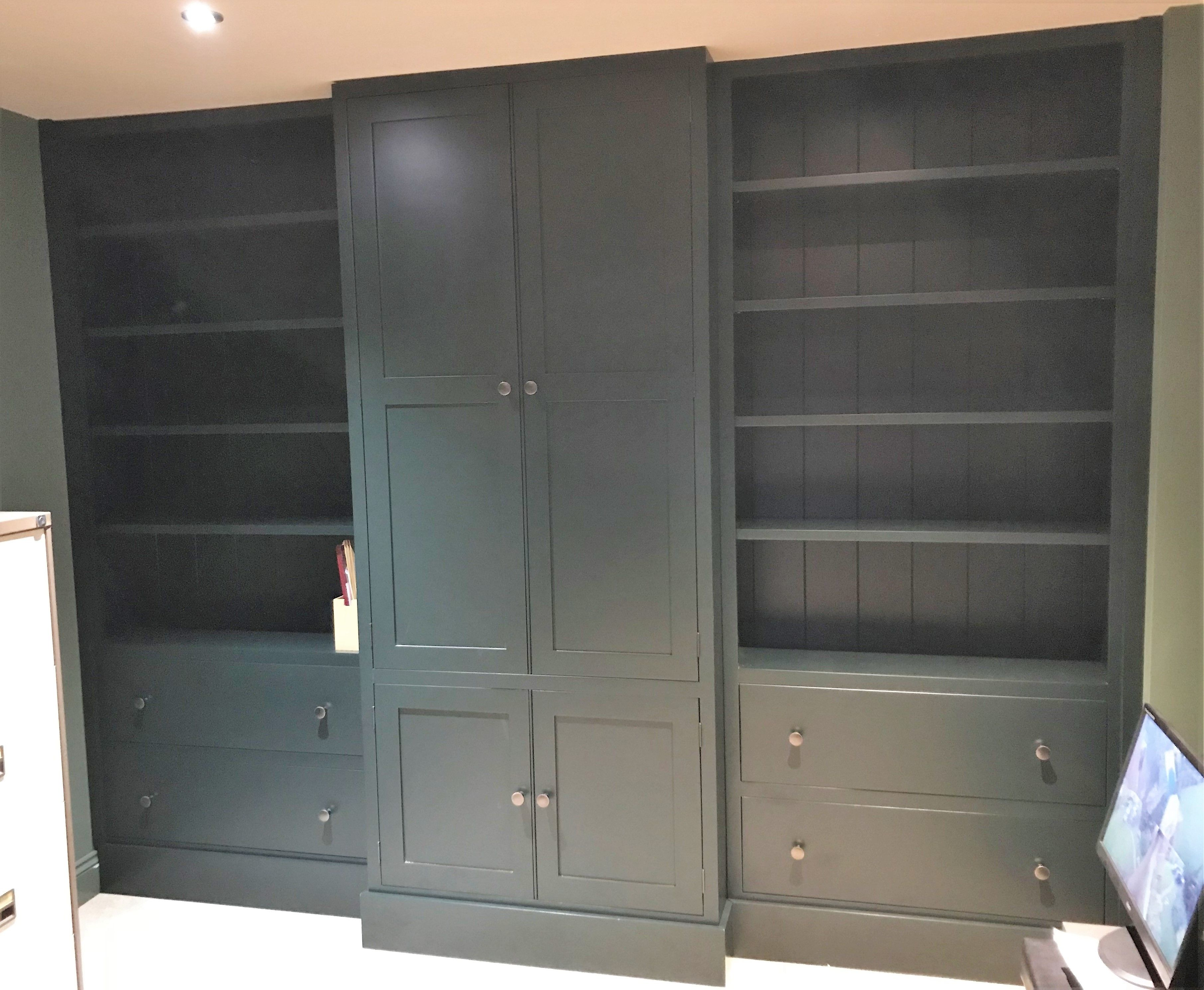 A Study Bookcase Unit Painted In F B Studio Green Fitted And Made To Order By Cobwebs Furniture Company Tall Cabinet Storage Pine Furniture Furniture