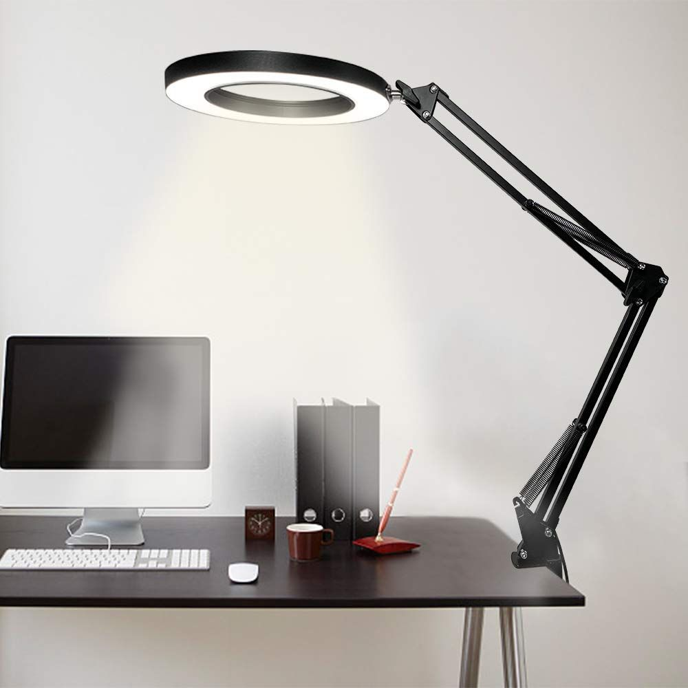 Swing Arm Lamp Led Desk Lamp With Clamp Dimmable Architect Task Lamp Eye Caring 3 Color Modes Drafting Table Lamp Office Light Ring Light For Study Reading In 2020 Led Desk Lamp