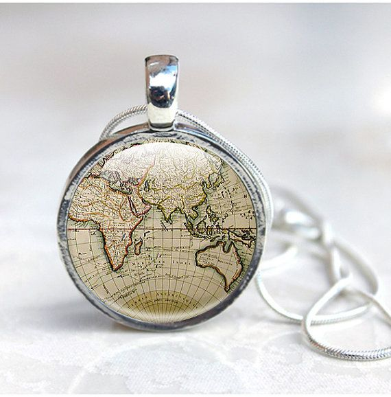 World map necklace globe necklace world map by glasscharmed secret globe necklace ancient world map pendant silver old map jewellery gumiabroncs Gallery