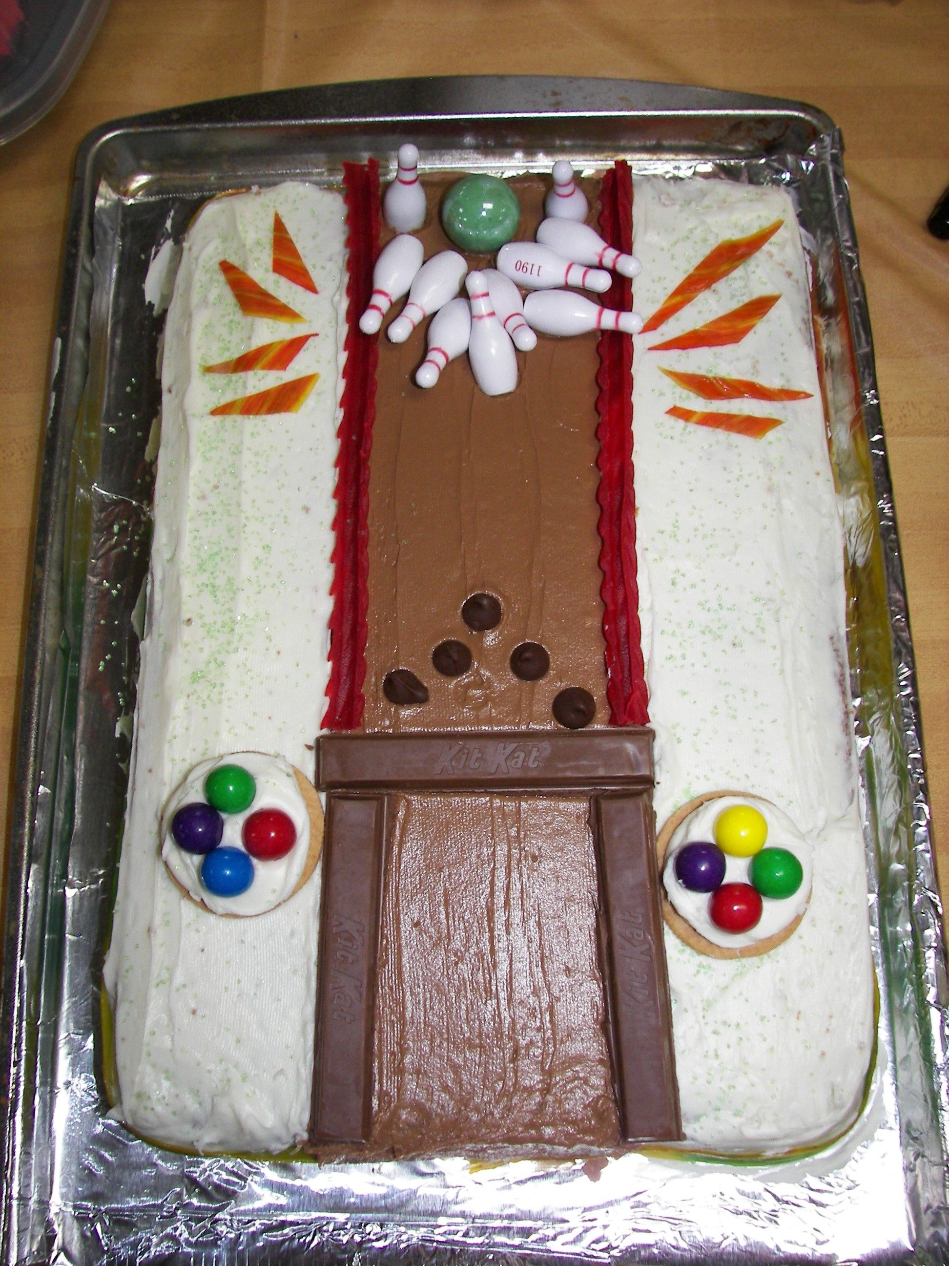 Bowling Themed Birthday Cake Sheet Cake Iced Pack Of Toy Bowling