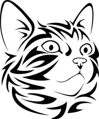 Tribal Cat Face Looking Right Vinyl Decal Silhuetit Pinterest - Vinyl decal cat pinterest