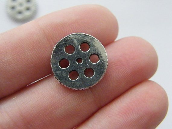 10 Gear charms 15mm antique silver tone P311