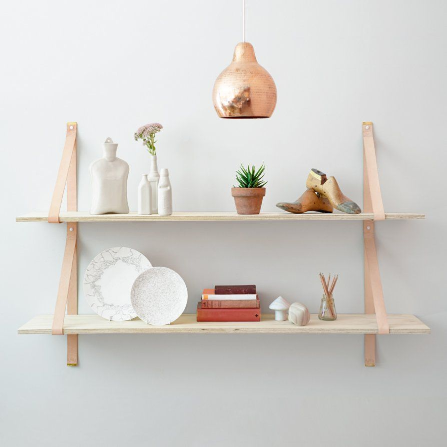 Assemblages Leather Shelves - leather straps for shelving ...