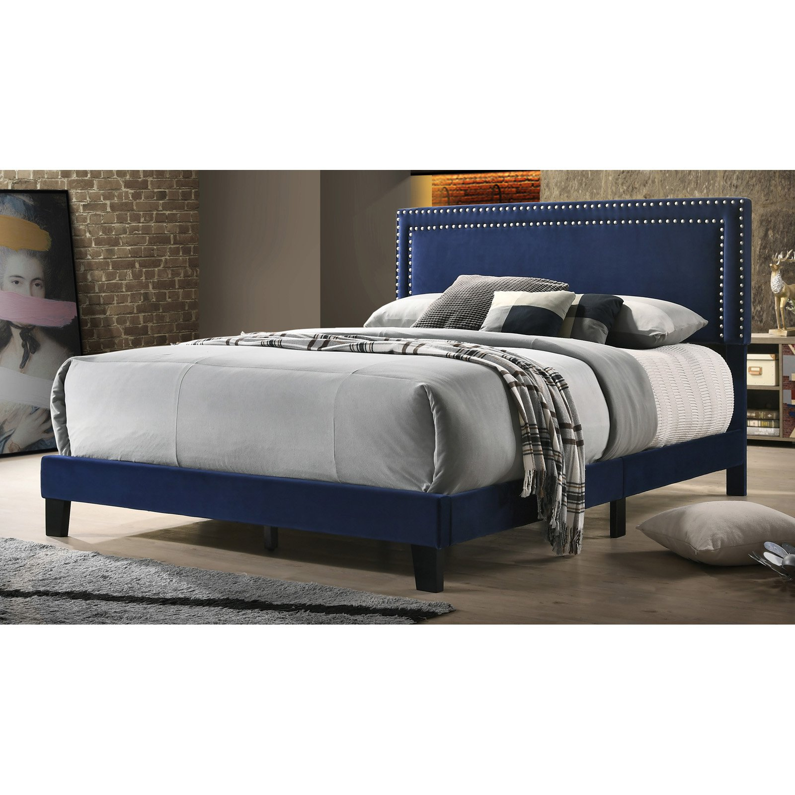 Stefany Upholstered Panel Bed Navy Blue, Size Queen