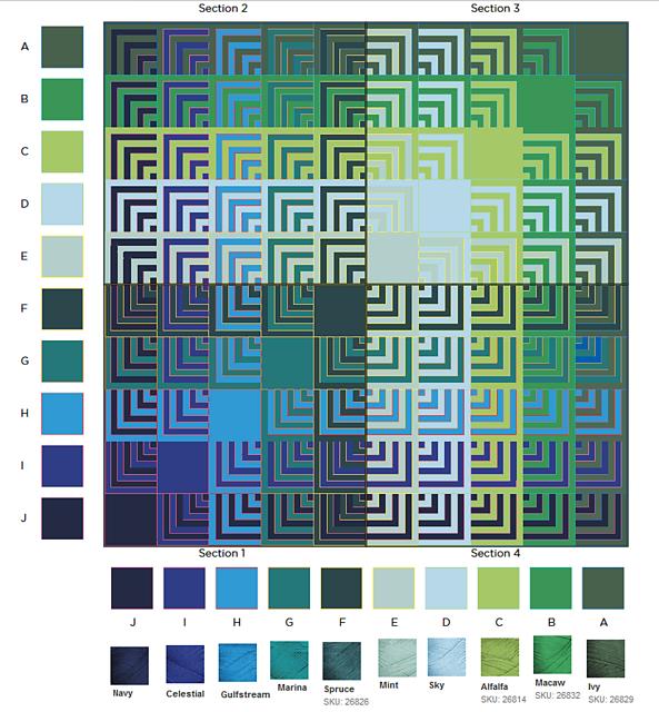 Hue Shift Afghan pattern by Kerin Dimeler-Laurence | Kästchen häkeln ...