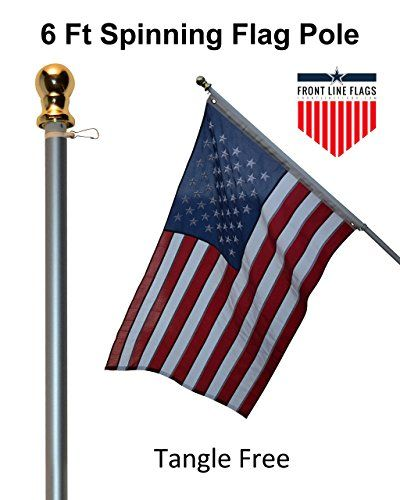 Flagpole Hardware Flag Pole 6 Ft Silver Aluminum Flagpole Spinning Tangle Free Heavy Duty Wind Resistant And Rust Free Flag Pole Silver Walls Foot Brush