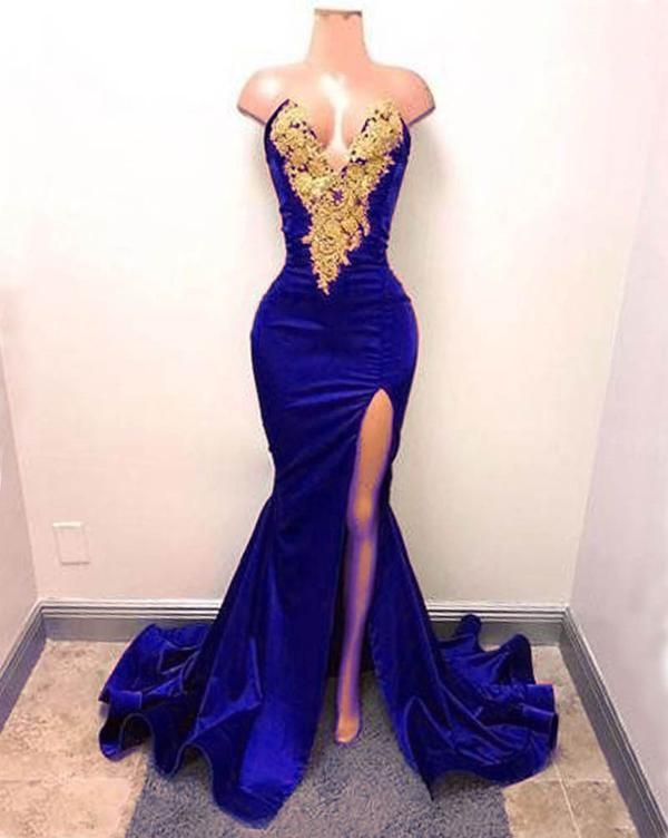 e3d31c6d9280 V Neck Royal Blue Prom Dress with Split. Item Type:Evening Dresses Back  Design:Zipper Silhouette:Mermaid Built-in Bra:Yes Decoration:Lace, ...