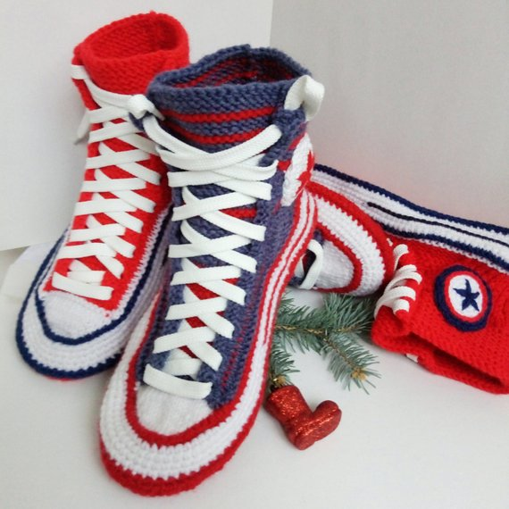 a7f9a2c84f0e6b Christmas family gift set Knitted converse boots House slippers men  women  Knitted converse sneakers