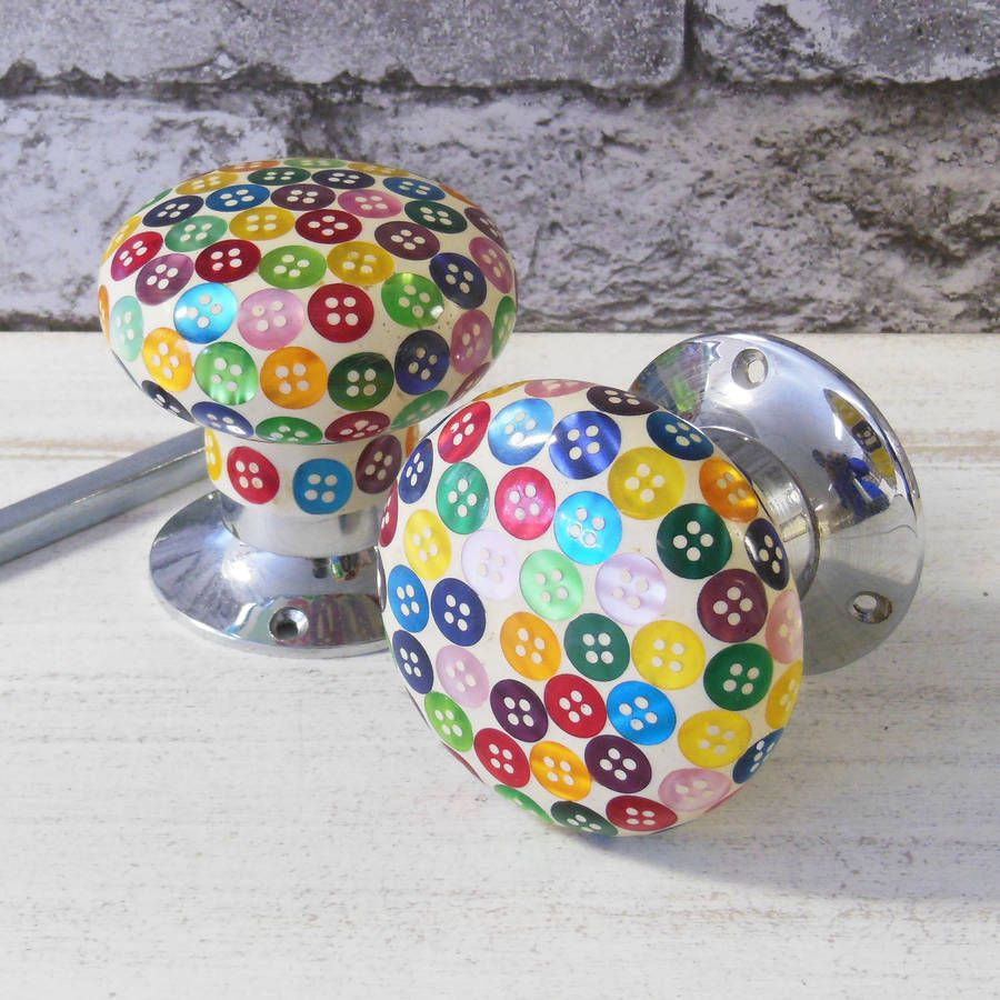 colourful button internal turning mortice door knobs by pushka