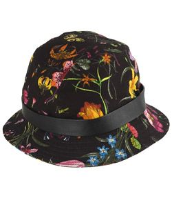 4c5f632f8ab39b Shop for Gucci Black/ Multicolor Flower Canvas Bucket Hat. Get free  delivery at Overstock - Your Online Accessories Outlet Store!