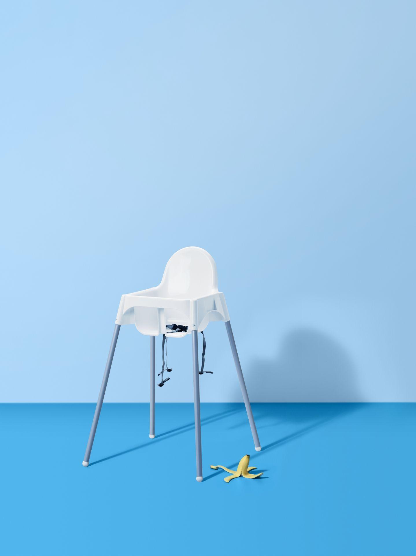Kinderstoel Voor Peuters.Antilop Kinderstoel Met Veiligheidsriempje Wit Zilverkleur Ikea
