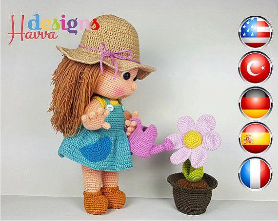 Crochet Pattern Mia The Gardener Amigurumi Doll Pattern
