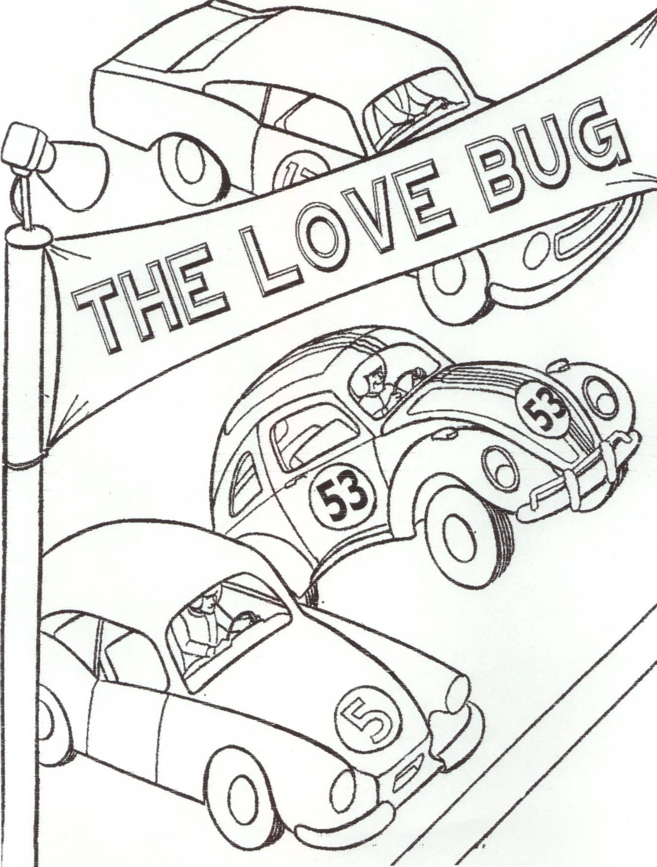 Disney Herbie Colouring Pages Car Coloring Pages Disney Coloring Pages Bug Coloring Pages