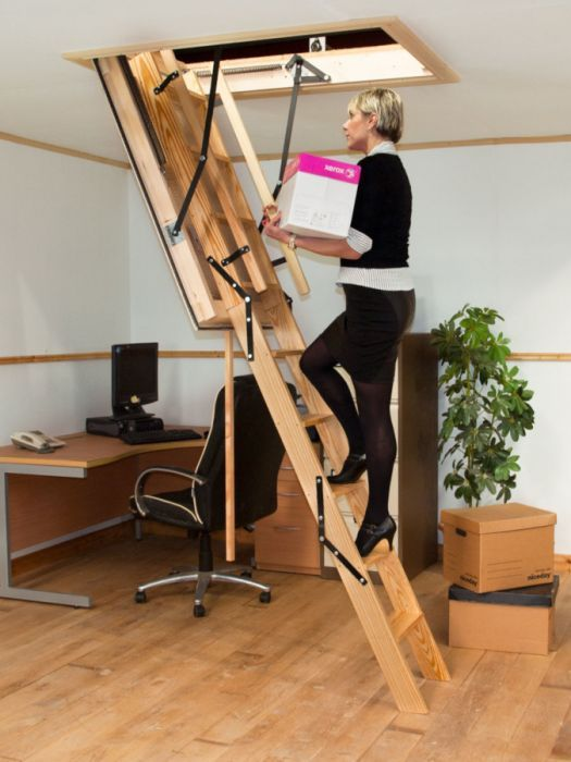 Best Stira Heavy Duty Timber Folding Loft Ladder Complete With 400 x 300