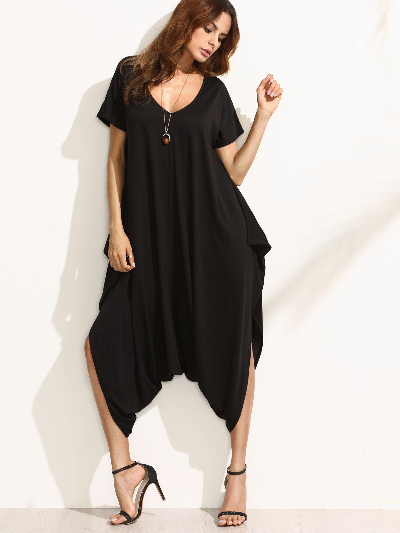 7866bf21ef5b Shop Black V Neck Short Sleeve Harem Jumpsuit online. SheIn offers Black V  Neck Short Sleeve Harem Jumpsuit   more to fit your fashionable needs.