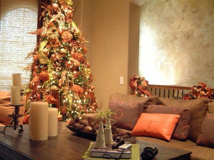 Como decorar un arbol de navidad propuesta fresca y original en colores dorado y naranja - Arbol navideno blanco decorado ...