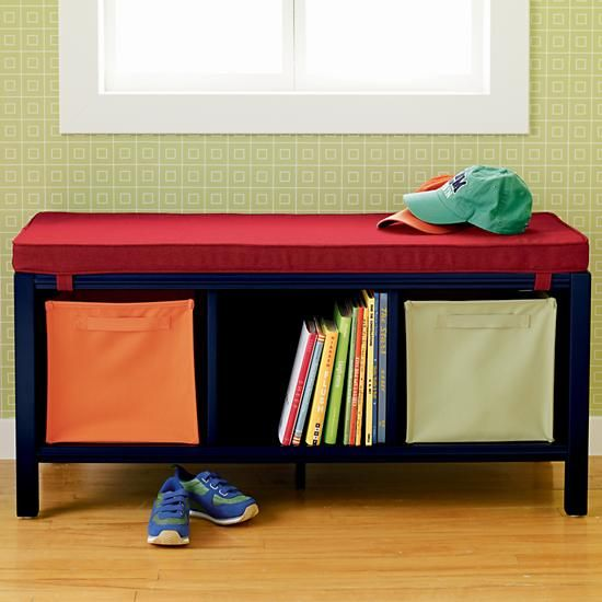 the land of nod kids benches kids 3 cube blue bench in
