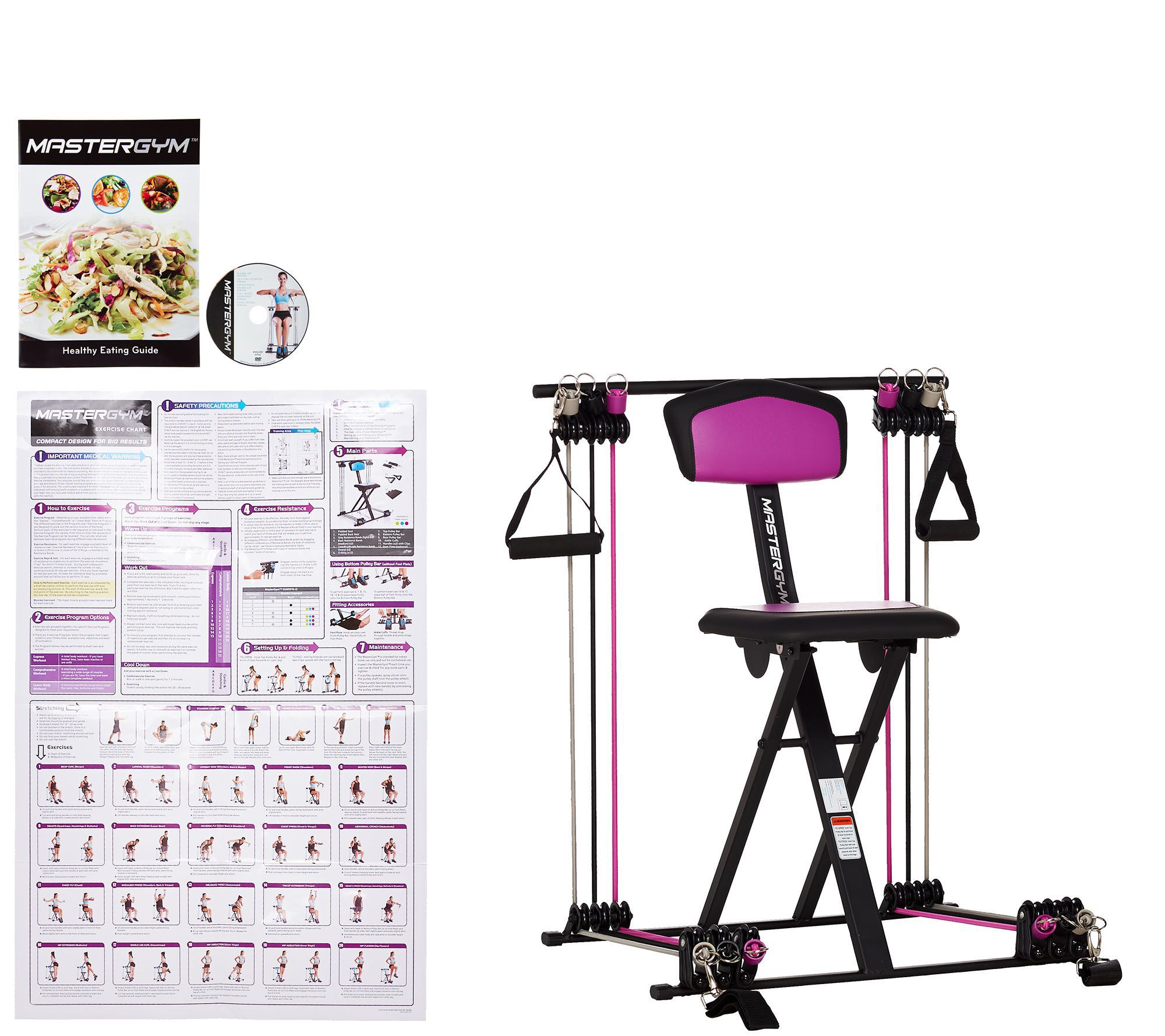 Master Gym Compact Fitness Chair With Dvd And Wall Chart Qvc Com At Home Gym Cardio Equipment Gym