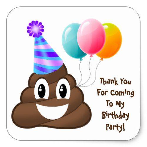 Thank You Customized Poop Emoji Birthday Stickers