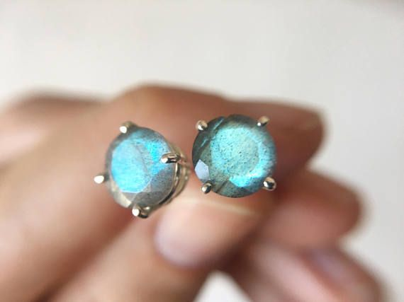 Large Faceted Labradorite Stud Earrings in sterling silver - sterling silver labradorite earrings - labradorite studs - gemstone studs