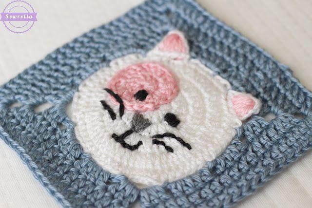 Kitty Cat Crochet Granny Square | Cuadrados de abuelita, Cuadrados y ...