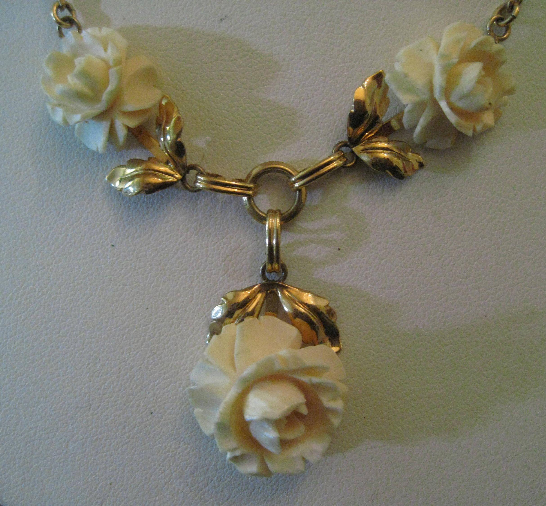 Van Dell 1 20 12k Gold Filled Necklace Carved Bone Rose 1 20 Gold Fill Necklace Vintage Necklace Pendant