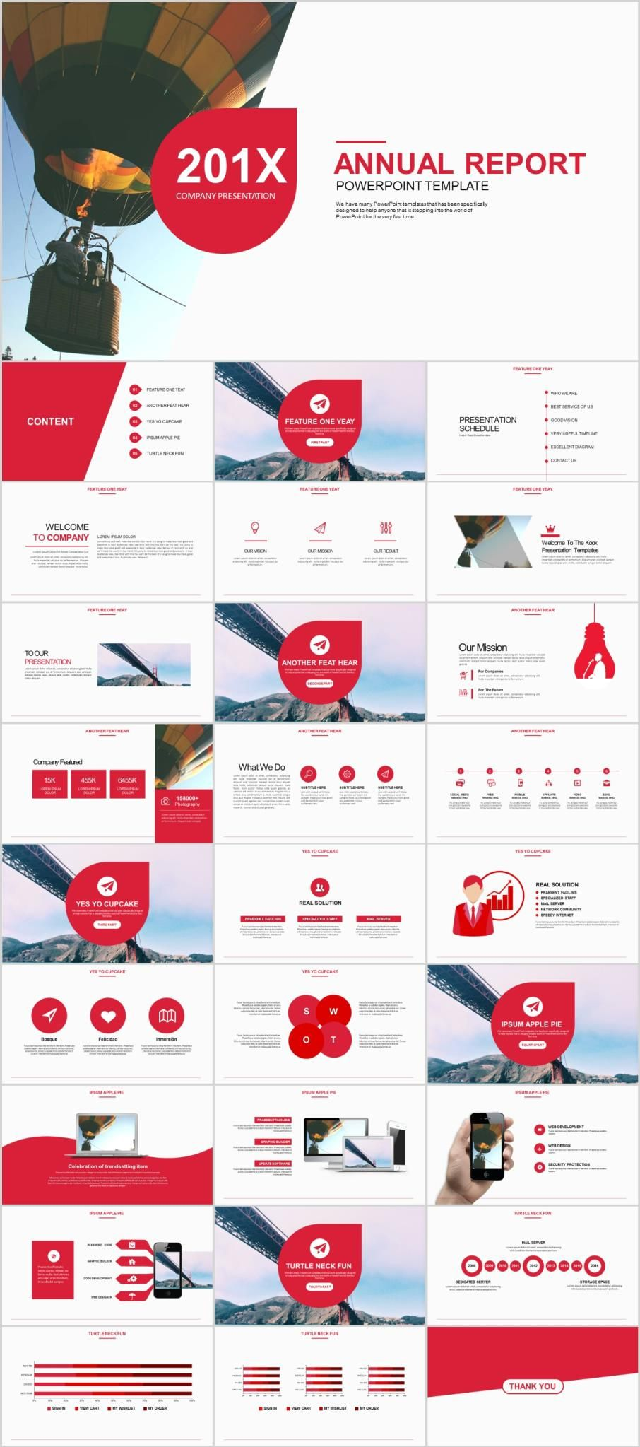 28 red annual report powerpoint templates marketing kit theme