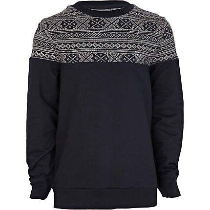 Boys navy jacquard sweatshirt - hoodies / sweatshirts - boys