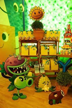 Festa infantil plants vs zombies para o ytalo fiesta for Decoracion con globos plantas contra zombies