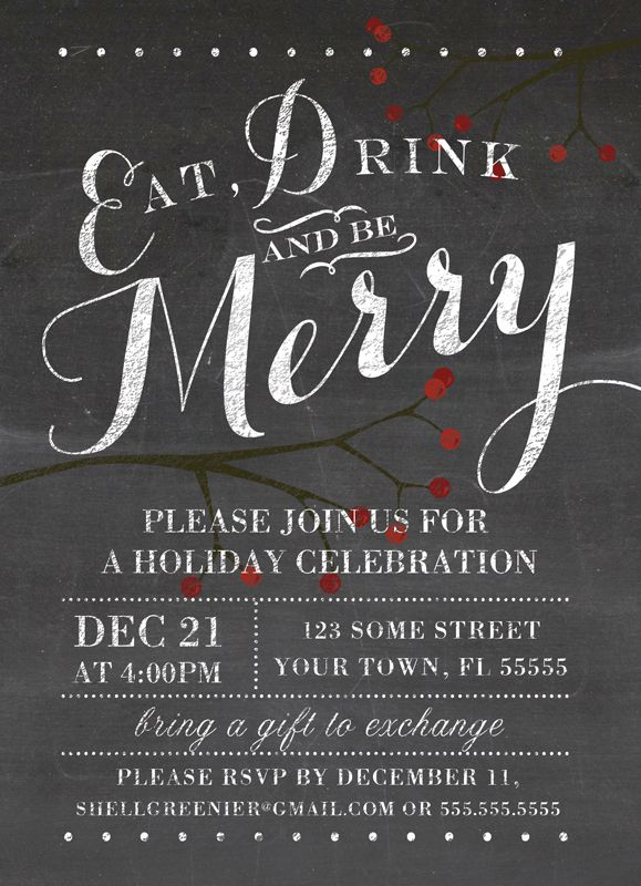 chalkboard holiday party invitation eat drink and be merry blackboard and berries invite. Black Bedroom Furniture Sets. Home Design Ideas