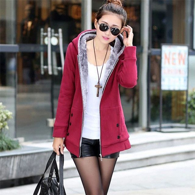 Gamiss Plus Size Autumn Winter Women Casual Outwear Hoodies Sweatshirt Long Sleeve Hooded Fleece Warm Long Coat Jackets