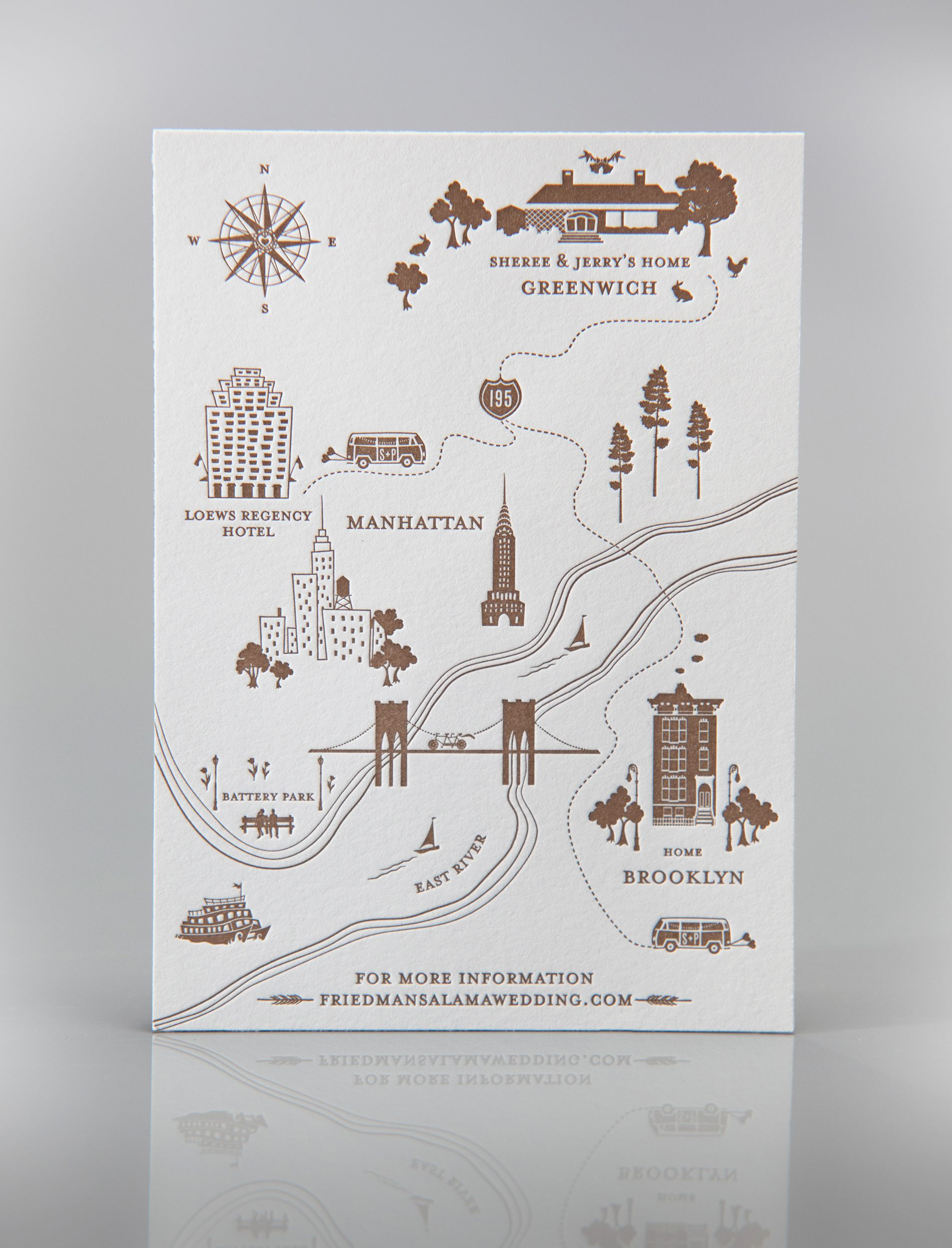 Sarah + Paul Letterpress Wedding Map (With images) Map