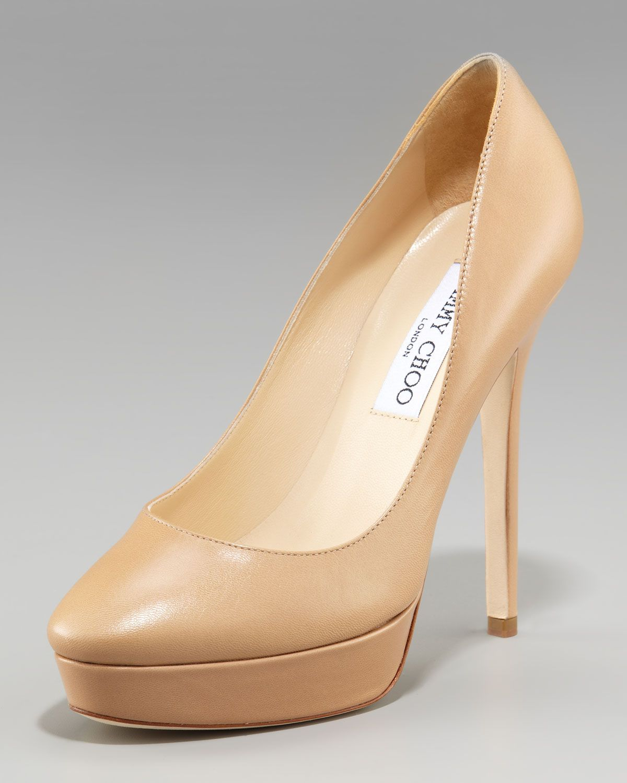 """Cosmic"" platform pumps in nude beige with 4.75"" heel & closed toe from Jimmy Choo."